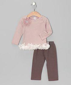 Look what I found on #zulily! Mauve Bella Tunic & Brown Pants - Infant by Truffles Ruffles #zulilyfinds