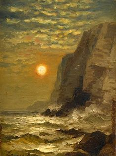 EDWARD MORAN, (AMERICAN 1829-1901), SUNSET BY THE CLIFFS
