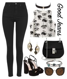 """""""High Waisted Jeans in Black"""" by krskinner ❤ liked on Polyvore featuring Topshop, Chicnova Fashion, Miu Miu, Chloé, Charlotte Russe, Lulu Frost, Quay, black and highwaistedjeans"""