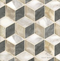 Euclid, a handmade mosaic shown in polished Cream Onyx, honed Allure and honed Calacatta Tia, is part of the Illusions™ Collection by Sara Baldwin and Paul Schatz for New Ravenna. Ravenna Mosaics, New Ravenna, Calacatta, Floor Finishes, Stone Mosaic, Textured Walls, Illusions, Tiles, Wall Textures
