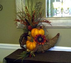 Rustic Fall Cornucopia Floral Arrangement by perpetualposy on Etsy