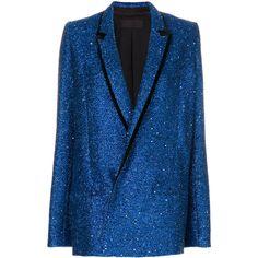 Haider Ackermann glitter blazer found on Polyvore featuring polyvore, women's fashion, clothing, outerwear, jackets, blazers, blue, coats, glitter jacket and glitter blazer