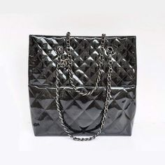 Chanel Large Tote Bags Patent Leather Black