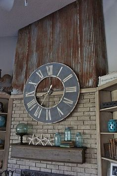 Repurposed- Using an old barn tin roof and barn wood for a fireplace makeover Old Barn Wood, Metal Barn, Metal Roof, Rusty Metal, Barn Tin Wall, Attic Renovation, Attic Remodel, Metal Fireplace, Fireplace Ideas