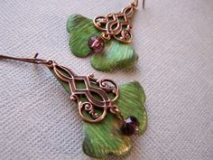 Patinaed Ginko Leaf and Copper Chandelier Earrings