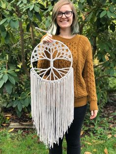 Tree of Life Macrame Wall Hanging / Fiber Wall Hanging / Nursery Decor / Gift for Her / Woven with White Cotton on Large 12 Inch Hoop. White Tree of Life Dream Catcher Woven with Cotton on Large 12 Macrame Wall Hanging Diy, Macrame Art, Window Hanging, Trendy Tree, Tree Of Life Tapestry, Wiccan Decor, Metal Tree Wall Art, Macrame Design, Macrame Patterns