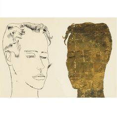 #gold #goldleaf #art #drawing #andywarhol Andy Warhol UNTITLED (UNKNOWN MALE) Gold leaf and ink on paper 19 by 24 1/2 in. 48.3 by 62.2 cm