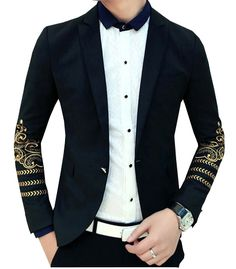 Golden Floral Art Sleeve Black- Modern Blazer