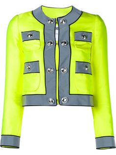 Shop Moschino Embellished-Button Neon Jacket in Browns in London, U.K.