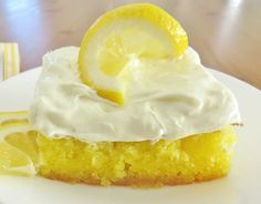 Lemon Drop Cake is easy to make but is only for serious lemon lovers! Lemon cake mix poked with lemon sauce and topped with lemon whipped topping!
