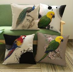 New Modern Creative personality parrot peacock Cushion cover Linen cotton Throw Pillow Case Square 45*45cm Home textile product #Affiliate