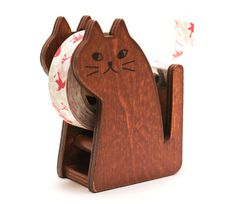 Cat Washi Tape Dispenser Natural Color by Maigocute on Etsy