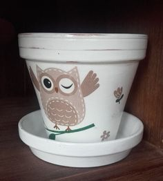 With Owl by BessFlowerPots on Etsy