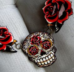 Antiqued Sugar Skull and the Tattoo Roses Necklace