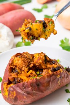 This recipe for leftover turkey chili smothered sweet potatoes will have you waiting impatiently for the table to be cleared. Leftover Turkey Recipes, Leftovers Recipes, Homemade Tacos, Homemade Taco Seasoning, Fish Recipes, Whole Food Recipes, Thanksgiving Leftovers, Whole Foods, Cooking