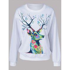 $14.69 Floral Deer Pattern Sweatshirt