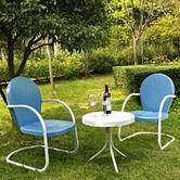 Griffith 3 Piece Metal Outdoor Conversation Seating Set in White