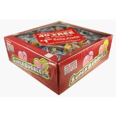 This box is filled with individually wrapped pieces of super bubble bubble gum all in the original flavor. Retro blue, yellow and red twist wrapping. Great for a Halloween handout. Super Bubble Gum, Super Bubbles, Bulk Candy, Blue Yellow, Wrapping, Wraps, Halloween, Retro, Box