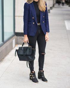 Navy blazer, black skinny jeans