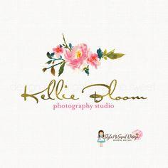 peony logo design watercolor flower logo by stylemesweetdesign