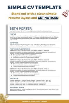 Overhaul your old CV in minutes and get noticed by companies quickly! You won't get seen by using a poorly formatted CV! Save your time with this one page CV template for students and matching cover letter template and references page. Open in Google Docs in any browser, edit easily and save your new student CV as a pdf file. Make your job search easier today! Simple Cover Letter Template, Resume Cover Letter Template, Simple Resume Template, Resume Templates, Cv Template Student, Cv Format For Job, Curriculum Vitae Template, Resume Layout, Cv Examples