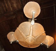 Lustre Vasque + 3 Coupe Verre Depoli Signe Muller Luneville Art Deco Metal Chrome, Antik-Lorraine, Proantic Lampe Art Deco, Signs, Lorraine, Decoration, Sconces, Wall Lights, Display, Home Decor, Transitional Chandeliers