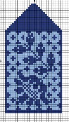 Jacquard mønstre for votter 7 Knitted Mittens Pattern, Knit Mittens, Knitting Socks, Hand Knitting, Knitted Hats, Knitting Charts, Knitting Stitches, Knitting Patterns, Fair Isle Chart