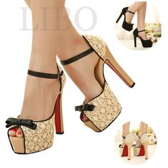 Women Lace Peep Toe Ankle Strappy Stiletto Shoes High Heel Platform Pump Sandal in Clothing, Shoes & Accessories, Women's Shoes, Heels | eBay