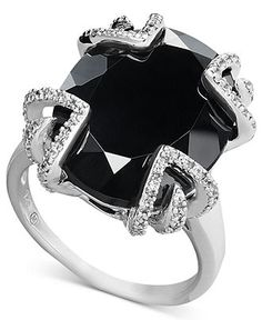 Sterling Silver Ring, Onyx (12-1/3 ct. t.w.) and Diamond (1/10 ct. t.w.) Statement Ring - Rings - Jewelry & Watches - Macy's #divorcering: #trashthedress #divorce