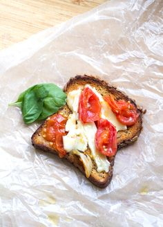LATE SUMMER GLUTEN-FREE TOAST: slow roasted cherry tomatoes & brie cheese