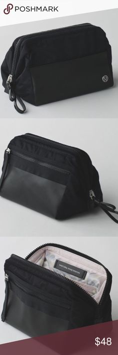 RARE Lululemon Mind & Body Kit There's no worse way to end a workout than having to rummage through our shower kit to find what you need. This locker-room friendly pouch has plenty of storage and a sturdy frame that stays open so you can go from sweat session to street sans frustration.  Water-resistant fabrics and clear pouches are easy to wipe clean, clear removable interior pouches and easy access exterior pocket. Nylon. In great condition, light marks inside pocket by visible from…