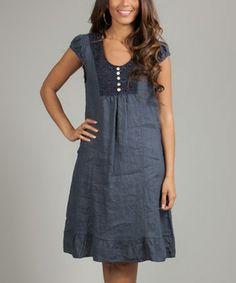 Another great find on #zulily! Navy Tie-Back Belle Linen Dress by La Belle Hélène #zulilyfinds