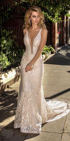 louise sposa 2018 bridal sleeveless deep plunging v neck full embellishment sexy elegant sheath wedding dress open back medium train (20) mv -- Louise Sposa 2018 Wedding Dresses