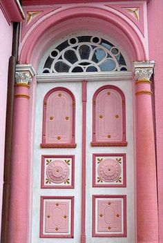 ♡ Home Pink Home ♡ Pink door with arch.