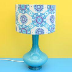 Vintage 1960s Glass Italian / Scandinavian Lamp & Barkcloth Shade - Turquoise Blue