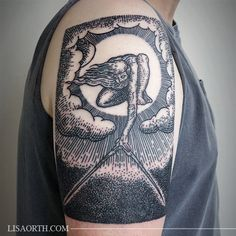 "William Blake's ""The Ancient of Days setting a Compass to the Earth"" woodblock tattoo by Lisa Orth"