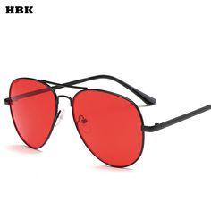 0a4fb42bd0 HBK 2018 Women Oversized Aviation Pilot Sunglasses Women HD Brand New  Fashion Brand Designer Black Red Female Sun Glasses