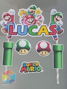 topo de bolo super mario #bolomario #bolosupermario #festamario #mariobros Bolo Super Mario, Mario E Luigi, Yoshi, Templates, Miniatures