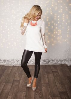 Party Sequins Patch Sweater Ivory - Modern Vintage Boutique