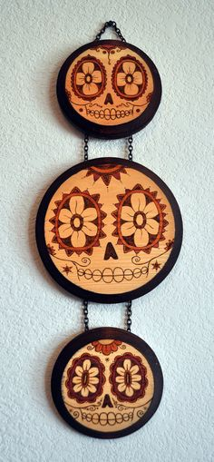 "Day of the Dead/Sugar Skulls wood burned wall hanging, ""My Three Skulls"""