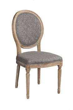 The Marla Oval Back Chair has a French inspired design and style. Crafted from Elm, the frame has a dark natural brown finish and is accented with detailed carvings. Charcoal colored upholstery graces the seat and chair back. Two piece set. Decor, Brown And Grey, Upholstered Seating, Chair, Home Decor, Chair Set, Wooden Chair, Dining Chairs, Linon Home Decor