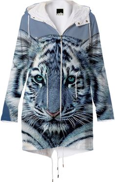 White Blue Tiger Raincoat designed by Erika Kaisersot | Print All Over Me