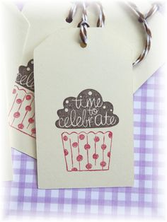 Cupcake tags - Time to Celebrate - gift/hang tags  (6) by HeartsCalling on Etsy