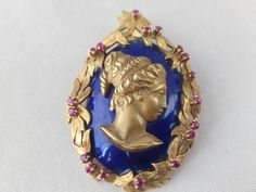 Hey, I found this really awesome Etsy listing at https://www.etsy.com/listing/562165389/vintage-18k-gold-blue-enameled-aphrodite