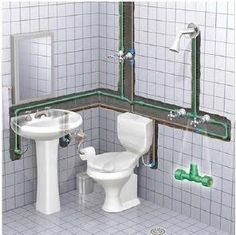 "Sanitary Installation – Height of ""Distribution Pipes"" - Engineering Feed Plumbing Drains, Bathroom Plumbing, Plumbing Pipe, Bathroom Layout, Bathroom Interior Design, Small Bathroom, Bathroom Modern, Bathroom Floor Plans, Bathroom Flooring"