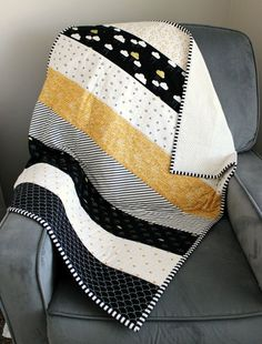 This item is unavailable - Unique baby quilt. When Skies are Grey Fabric Black White and Gold Baby Quilt by AuntieEmsCrafts - Quilt Baby, Strip Quilts, Easy Quilts, Quilting Projects, Quilting Designs, Sewing Designs, Sewing Tutorials, Patchwork Quilting, Patchwork Patterns
