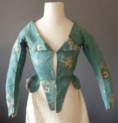 Turquoise silk taffeta brocade caracao (jacket), probably English, 1780's.