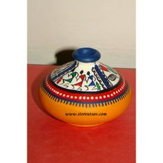 Buy Terracotta Vase-Rajasthani Terracotta Vase with Warli Painting in the Upper Portion by www.storeutsav.com