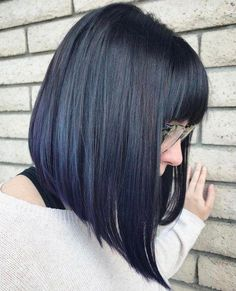 Hair with bangs 20 Modern Ways to Style a Long Bob with Bangs Black Straight Angled Bob With Bangs Bob With Fringe Bangs, Long Bob Haircut With Bangs, Bob Hairstyles With Bangs, Long Bob Haircuts, Long Bob With Fringe, A Line Bob With Bangs, Lob Bangs, Lob With Bangs, Medium Bob With Bangs