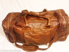Vintage-Leather-Weekend-Duffle-Luggage-Travel-Carry-On-Mens-Brown